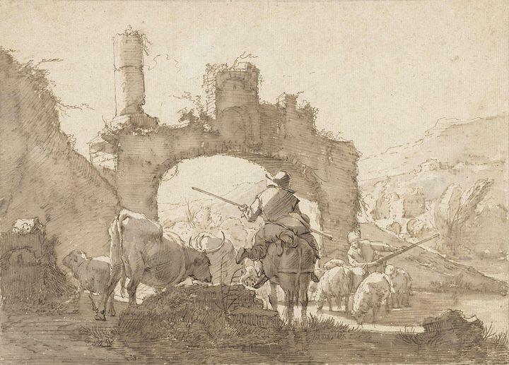 Johann Heinrich Roos~Twee herders dr - Artmaster