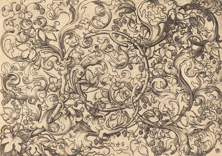 Martin Schongauer~Ornament with Hop - Artmaster