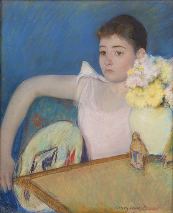 Mary Cassatt~Girl in Pink with a Fan - Artmaster
