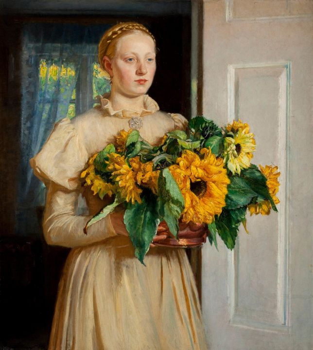Michael Ancher~Girl with Sunflowers - Artmaster