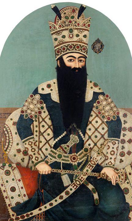 Mihr 'Ali~Portrait of Fath 'Ali Shah - Artmaster