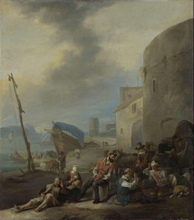 Johannes Lingelbach~Italian Harbor - Artmaster