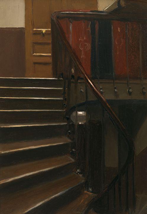 Edward Hopper~Stairway at  rue de Li - Artmaster