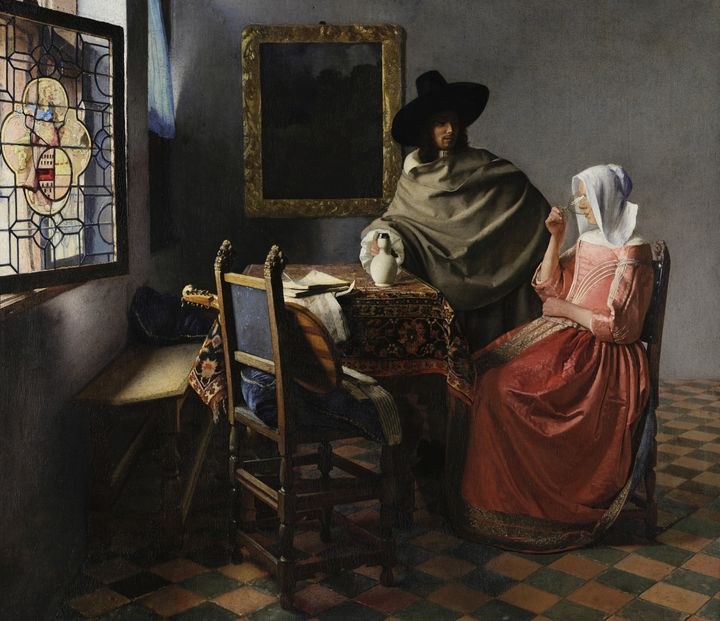 Johannes Vermeer~The Glass of Wine - Artmaster