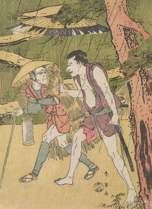 Katsukawa Shun'ei~Two men walking in - Artmaster