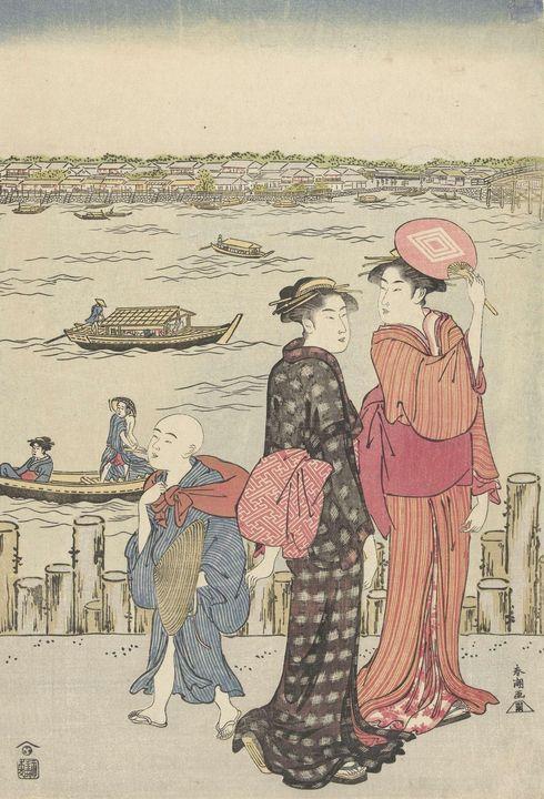 Katsukawa Shunshō~Twee vrouwen en ee - Artmaster