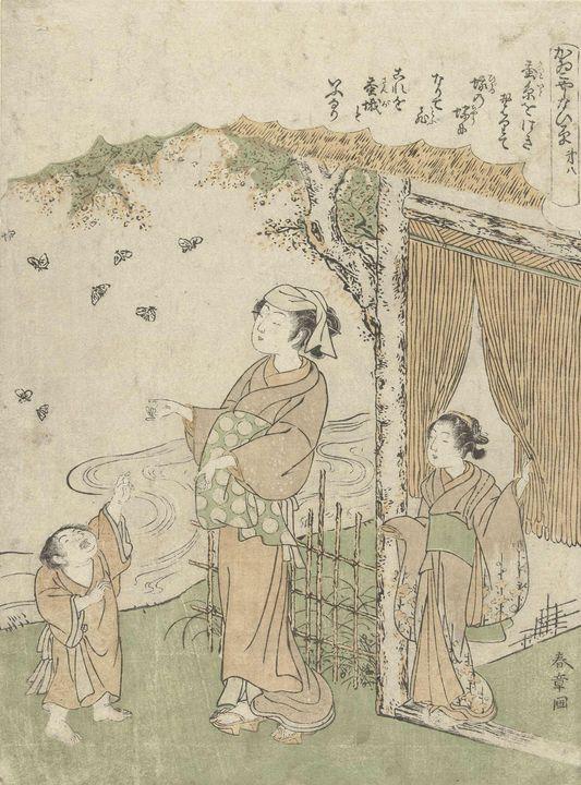Katsukawa Shunshō~Uitvliegende vlind - Artmaster