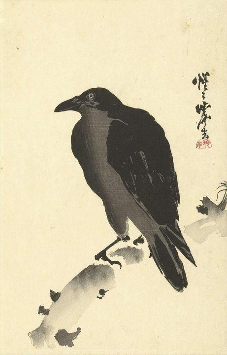 Kawanabe Kyōsai~Kraai op een boomsta - Artmaster
