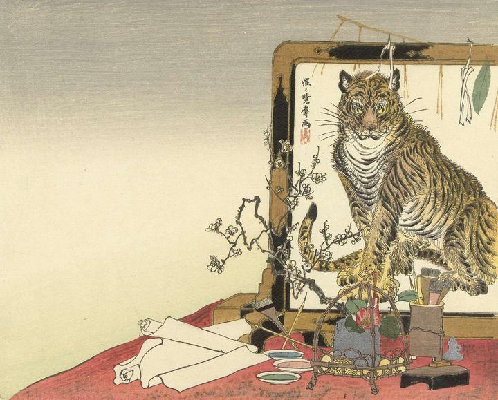 Kawanabe Kyōsai~Stilleven met schild - Artmaster