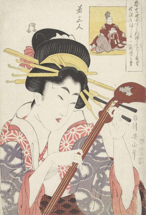 Kikukawa Eizan~Vrouw met shamisen - Artmaster
