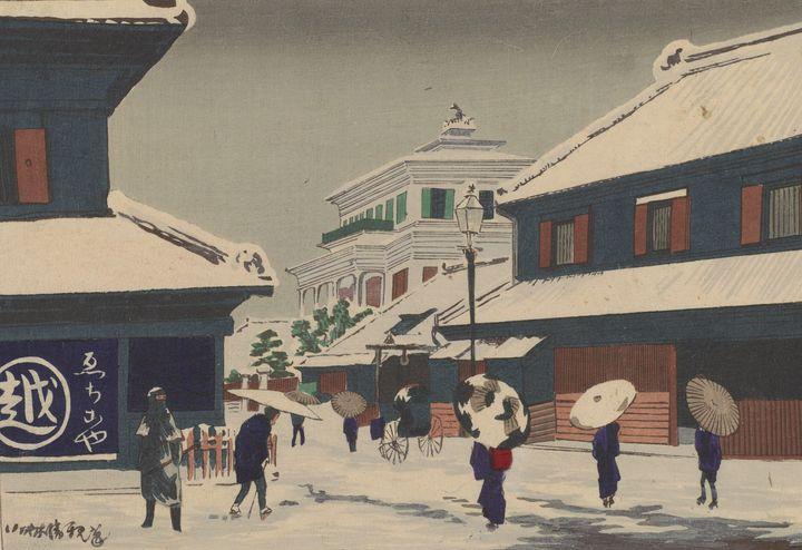 Kobayashi Kiyochika~Snow at Surugach - Artmaster