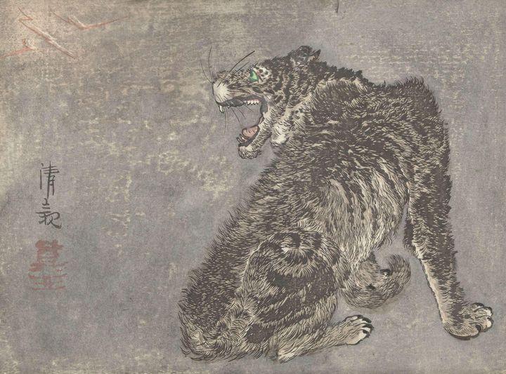 Kobayashi Kiyochika~Tijger en blikse - Artmaster