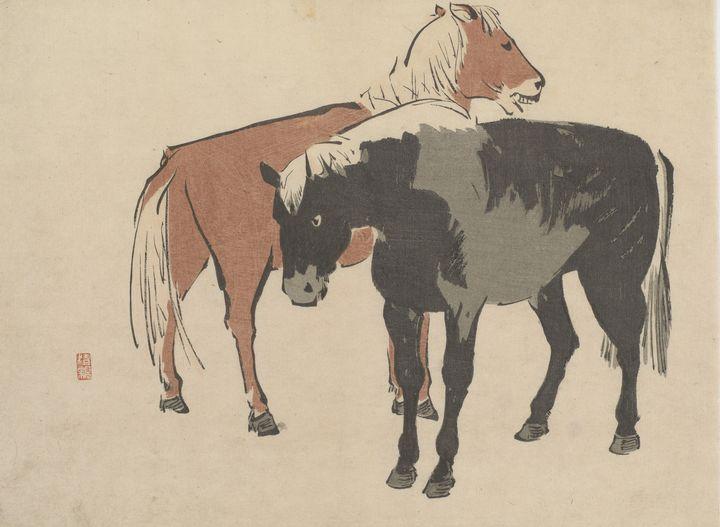 Kobayashi Kiyochika~Two horses - Artmaster