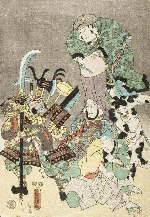 Kunisada~Actors as Otsu-e figures Fu - Artmaster