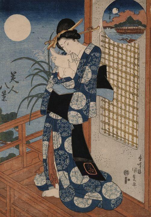 Kunisada~Autumn moon over Miho - Artmaster