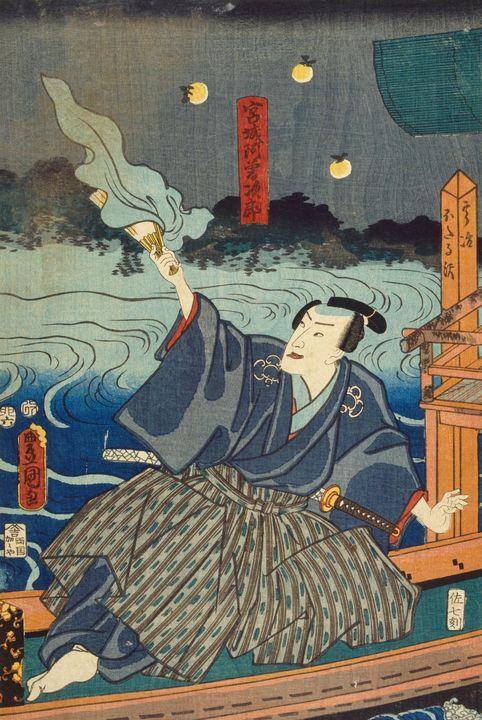Kunisada~Catching fireflies Miyagi A - Artmaster