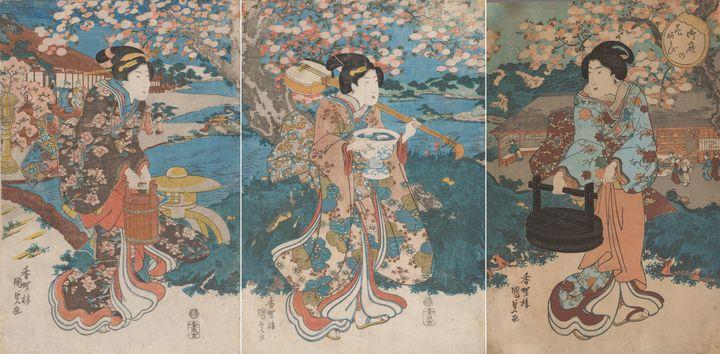 Kunisada~Cherry Blossom Garden Party - Artmaster