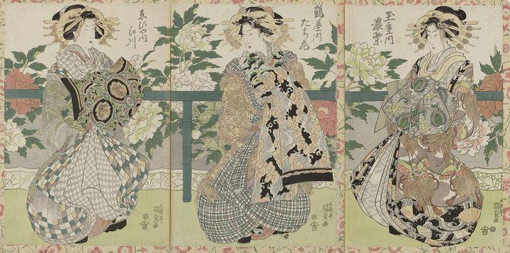 Kunisada~Drie courtisanes - Artmaster