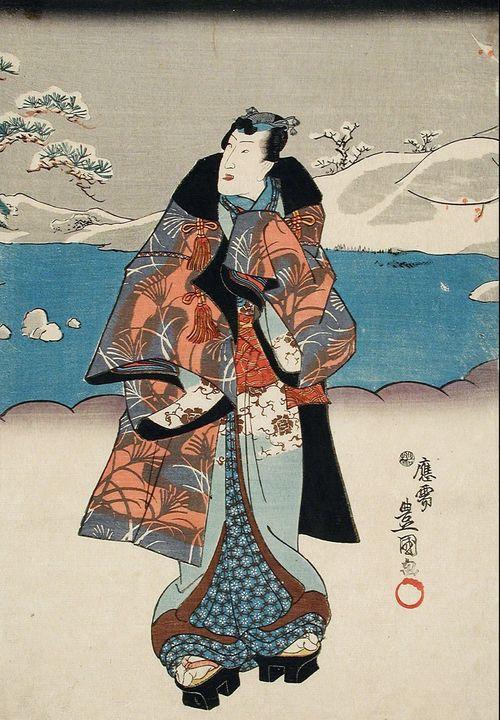 Kunisada~Fashionable Man Viewing the - Artmaster