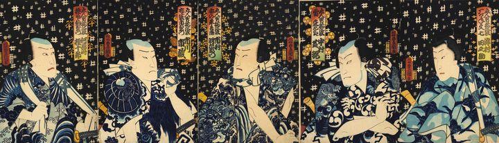 Kunisada~Five Manly Men in Summer Ro - Artmaster