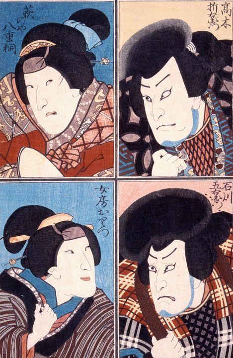 Kunisada~Four Actors in Roles of Ish - Artmaster