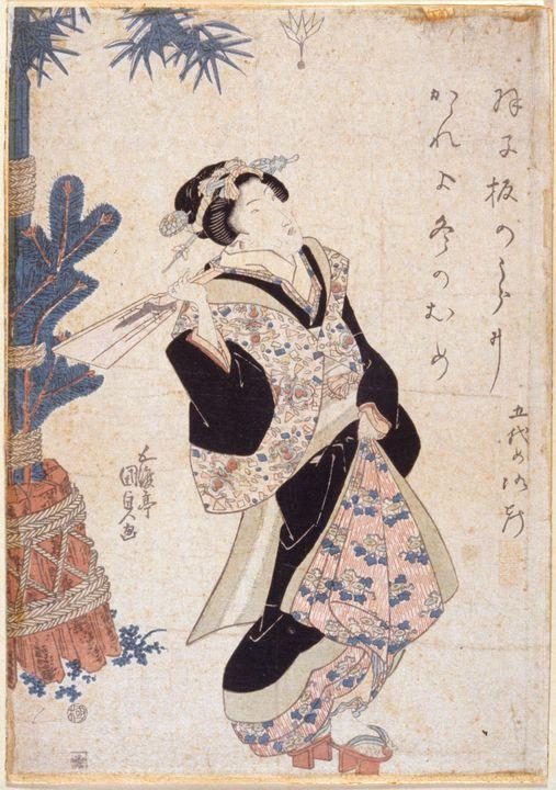 Kunisada~Girl with Battledore - Artmaster