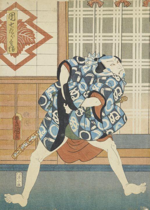 Kunisada~Kabuki actor (one of a dipt - Artmaster