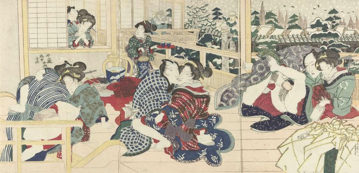 Kunisada~Liefdesparen op terras in w - Artmaster
