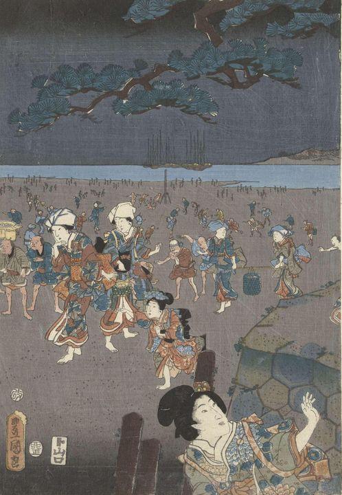 Kunisada~Schelpen rapen op het stran - Artmaster