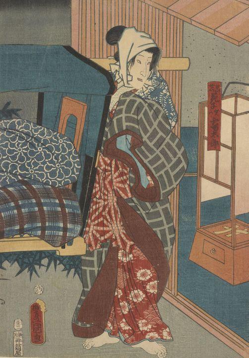 Kunisada~Two kabuki actors (one of a - Artmaster