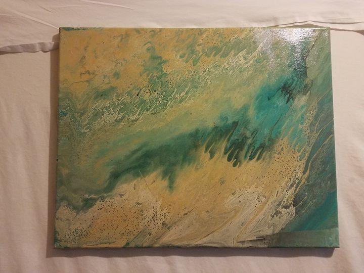 Gold, teal and blue wall art - Paula cardenas' artwork