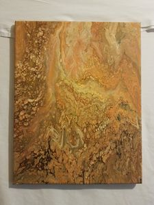 Orange and brown wall art