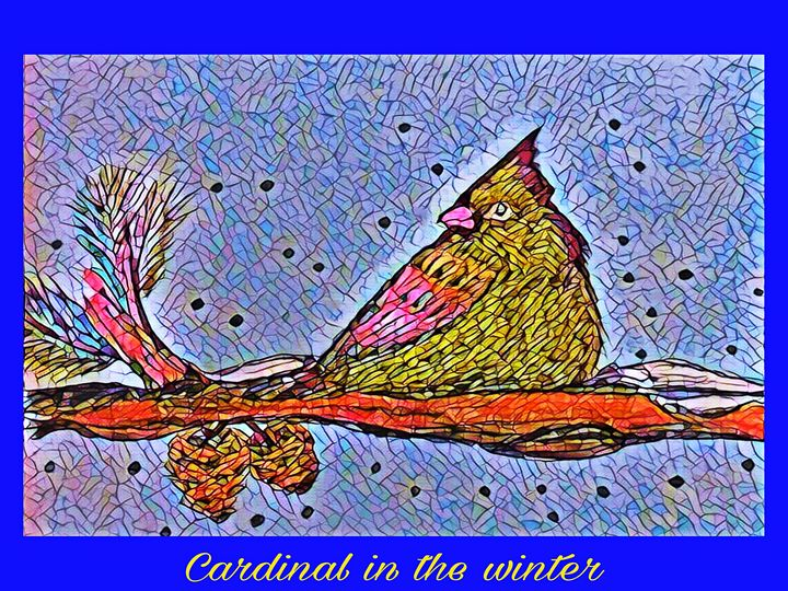 Cardinal In The Winter - MaryLeeParkerArt