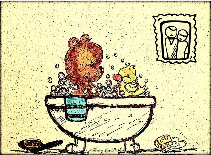 Bath Time For London And Benson - MaryLeeParkerArt