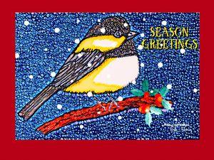 Chickadee Season Greeting - MaryLeeParkerArt