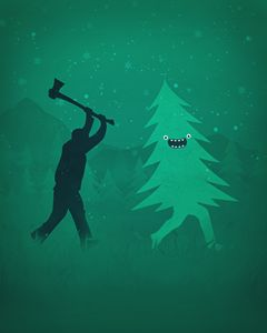 Christmas tree is chased by Lumberja
