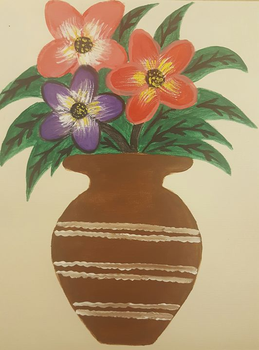 flower vase painting mom and daughter gallery - Vase Painting