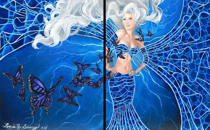 Blue Butterfly and Woman Diptych - SaenzArt