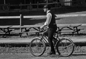 Man on a Vintage Bike