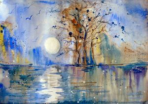 night..: aytekinart :..watercolor