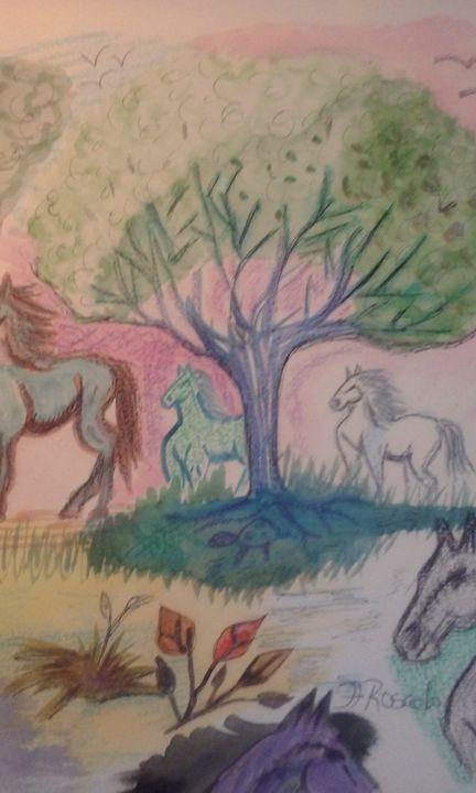 Mother Ginas horses - FRosado original-unique Art