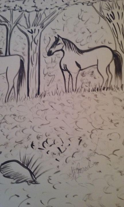 Mother Ginas horses lll - FRosado original-unique Art