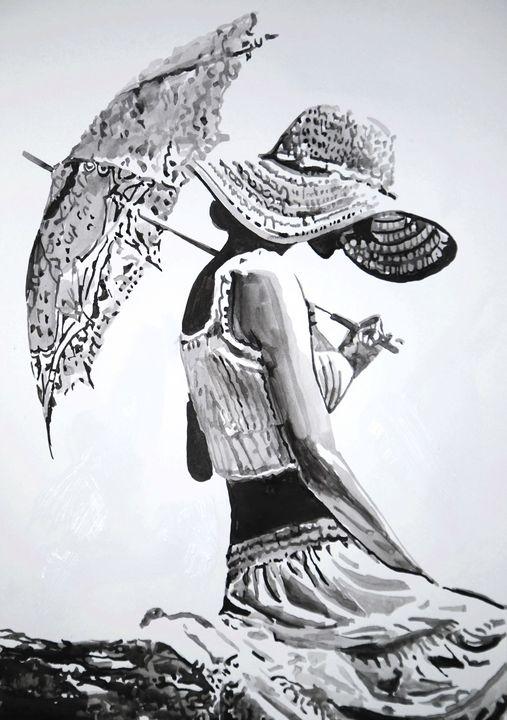 Girl with umbrella / 50 x 35 cm - Alexandra Djokic