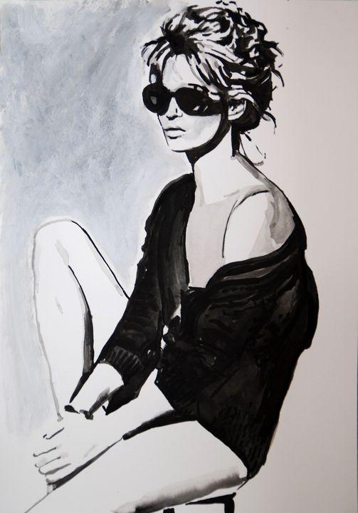 Girl with sunglasses  / 50 x 35 cm - Alexandra Djokic