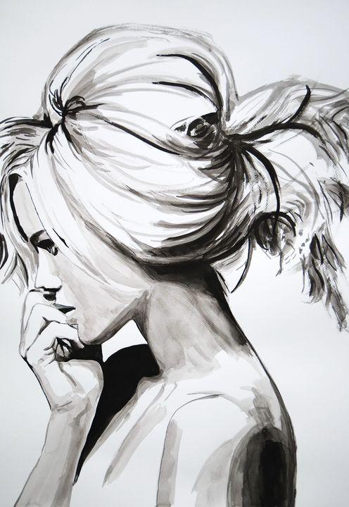 Girl with a ponytail / 72 X 50 cm - Alexandra Djokic