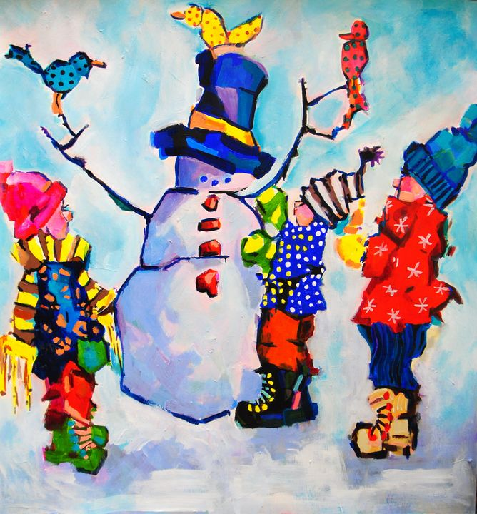 Children make snowman / 74.5 x 70 cm - Alexandra Djokic