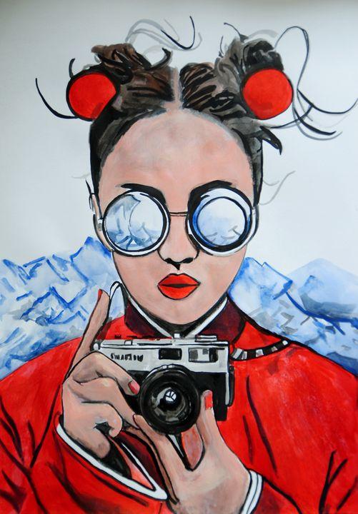 Girl with camera / 50 x 35 cm (2019) - Alexandra Djokic