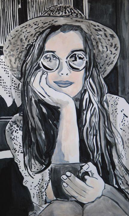 Girl with sunglasses ID /50 X 30 cm - Alexandra Djokic