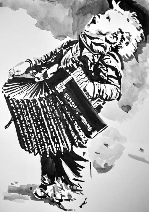 Boy with accordion / 42 X 29.7 cm - Alexandra Djokic