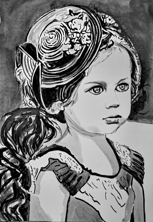 Little girl with a hat / 50 x 35 cm - Alexandra Djokic
